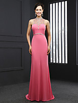 Formal Evening Dress Trumpet / Mermaid High Neck Court Train Chiffon with Beading