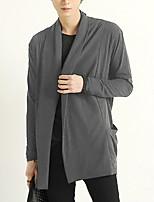Herren Standard Strickjacke-Lässig/Alltäglich Einfach Solide Einfarbig Blau Schwarz Grau Rundhalsausschnitt Langarm Baumwolle Polyester