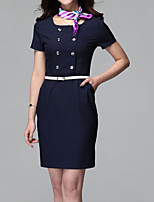 Women's Formal / Plus Size Simple Bodycon Dress,Solid Shirt Collar Above Knee Short Sleeve Blue / Black Others Summer High Rise