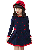 Girl's Casual/Daily Polka Dot Dress / Sweater & Cardigan,Rayon Winter / Spring / Fall Blue / Red