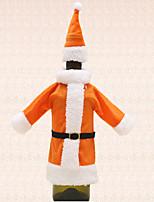 1pc Wine Bottle Bag Cover Orange Santa Suit Clothing Hat Christmas Table Dinner Party Decoration