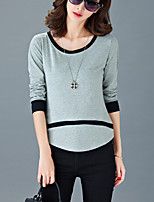 Women's Casual/Daily Simple Summer T-shirt,Patchwork  Fashion Round Neck Long Sleeve Gray / Orange Cotton Thin