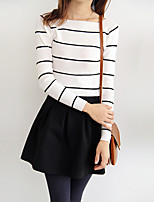 Women's Casual/Daily Cute Regular Pullover,Striped Long Sleeve Cotton / Polyester Spring / Fall Medium