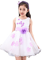 Girl's Casual/Daily Solid DressPolyester Summer Purple / Red