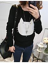 Damen Standard Pullover-Lässig/Alltäglich Einfach Druck Rot / Weiß / Schwarz / Grau Rundhalsausschnitt Langarm Baumwolle Frühling / Herbst