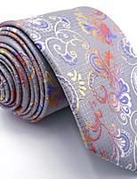 Men's Light Gray  Tie 100% Silk Business Dress Casual Long