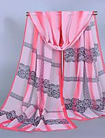 Women's Chiffon Lace Print Scarf Pink/Yellow/Beige/Fuchsia