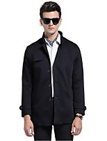 Men's Solid Casual / Work Trench coat,Polyester Long Sleeve-Black