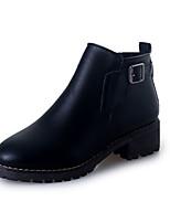 Черный / Серо-коричневый-Женский-На каждый день-Полиуретан-На плоской подошве-С круглым носком-Ботинки