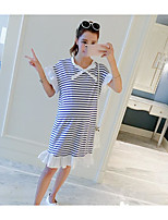 Maternity Casual/Daily Simple Loose Dress,Striped Round Neck Above Knee Short Sleeve Blue Polyester Summer