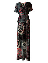 Women's Plus Size / Casual/Daily Vintage Loose Dress,Print V Neck Maxi Short Sleeve Red Acrylic / Polyester Summer