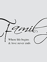 Family Love Never Ends English Words Wall Stickers Europe America Living Room Wall Decals