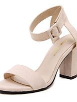 Women's Sandals Stecy Open Toe Fleece Platform Shoes Buckle Chunky Hollow-out Heels Black and Almond Colors Available