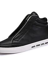 Men's Shoes Leatherette Casual Walking Flat Heel Lace-up Black / White EU39-43