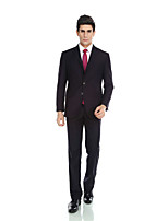 Tuxedos Tailored Fit Notch Single Breasted Three-buttons Wool & Polyester Blended Solid 2 PiecesDark
