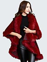 Damen Lang Mantel / Capes-Übergröße Retro Patchwork Rot / Schwarz / Grau V-Ausschnitt Langarm Wolle / Acryl Winter Mittel