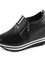 Women's Loafers & Slip-Ons Spring / Fall Wedges / Creepers Leatherette Outdoor Wedge Heel Zipper Black / White Walking
