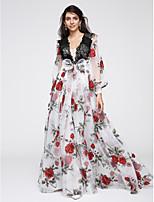 포멀 이브닝 드레스 A-라인 V-넥 바닥 길이 오간자 와 레이스 / 패턴 / 프린트