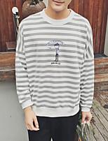 Men's Striped Casual SweatshirtCotton Long Sleeve Black / Brown / Gray