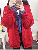 Women's Casual/Daily Simple Regular Cardigan,Solid Red / Beige / Black / Green Asymmetrical Long