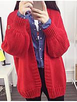 Damen Standard Strickjacke-Lässig/Alltäglich Einfach Solide Rot / Beige / Schwarz / Grün Asymmetrisch Langarm Baumwolle Herbst Mittel