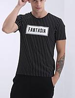 Gestreept-Informeel-Heren-Rayon-T-shirt-Korte mouw Zwart