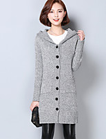 Women's Casual/Daily Simple Long Cardigan,Solid Gray Hooded Long Sleeve Rayon Fall Medium
