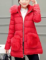 Women's Solid Blue / Pink / Black / Gray / Green / Purple Padded Coat,Simple Hooded Long Sleeve