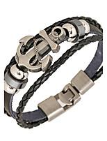 Punk Men's Bracelet PU Leather Bracelet Easy Hook Anchor for Men Fashion Jewelry