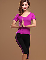 Latin Dance Outfits Women's Performance Cotton 2 Pieces Black / Fuchsia / Purple / Burgundy  Short Sleeve Top / Pant