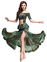 Belly Dance Outfits Women's Performance Modal Pattern/Print 2 Pieces Green Belly Dance Short Sleeve Natural Top / Skirt