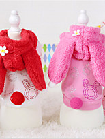 Dog Hoodie Red / Pink Winter / Spring/Fall Solid / Animal Casual/Daily Dog Clothes / Dog Clothing-Other