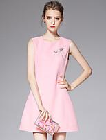 AFOLD® Women's Round Neck Sleeveless Mini Dress-C6040