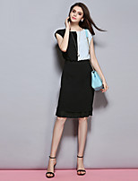 Sybel Women's Casual/Street chic Sheath Dress,Patchwork Round Neck Sleeveless Blue / Pink Polyester Summer / Fall