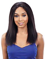 Unprocessed Natural Black Color Brazilian Virgin Human Kinky Straight Lace Front Wig With Baby Hair