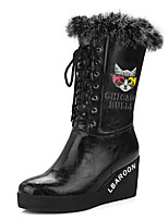 Women's Boots Winter Snow Boots / Round Toe Casual Wedge Heel Lace-up Black / Red / White / Champagne Others
