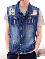 Men's Sleeveless Casual Jacket,Cotton Solid Blue