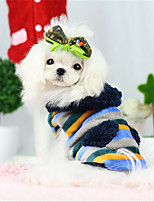 Dog Hoodie Blue / Yellow Winter / Spring/Fall Stripe / Animal / Letter & Number Casual/Daily Dog Clothes
