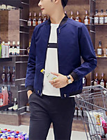 Men's Long Sleeve Casual Jacket,Cotton Solid Black / Blue / Red / Beige / Gray