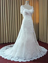 A-line Wedding Dress Court Train Off-the-shoulder Lace / Organza / Tulle with Appliques / Criss-Cross / Lace