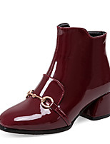 Women's Boots Winter Bootie / Square Toe Patent Dress Chunky Heel Zipper Black / Burgundy Others
