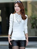 Women's Casual/Daily Simple Regular Pullover,Patchwork  Shirt Collar Long Sleeve Cotton Spring / Fall Medium