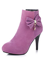 Women's Boots Fall / Winter Fashion Boots Leatherette Dress Stiletto Heel Bowknot Black / Purple / Red Walking