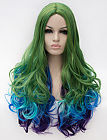 Cosplay wig wind Lolita Lolita multi color gradient wig daily wig Synthetic wigs