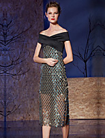 Cocktail Party Dress Sheath / Column Off-the-shoulder Tea-length Satin / Sequined with Buttons / Sequins