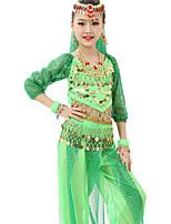 Belly Dance Outfits Children's Performance Chiffon Gold Coins / Sequins 7 Pieces Fuchsia / Light Green / Orange / Purple