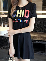 Women's Casual/Daily / Plus Size Cute Two Piece Dress,Solid Round Neck Knee-length Short Sleeve Black Cotton / Rayon Summer