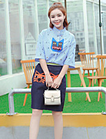 Boutique S Casual/Daily/ Cute Summer ShirtStriped / Animal Print Stand ½ Length Sleeve BlueCotton