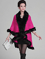 Women's Plus Size Vintage Long Cloak / Capes,Patchwork Red V Neck ¾ Sleeve Wool / Acrylic Winter Medium