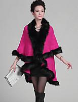 Damen Lang Mantel / Capes-Übergröße Retro Patchwork Rot V-Ausschnitt ¾-Arm Wolle / Acryl Winter Mittel